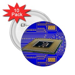 Processor Cpu Board Circuits 2 25  Buttons (10 Pack)  by Sapixe