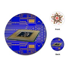 Processor Cpu Board Circuits Playing Cards (round)  by Sapixe