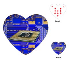 Processor Cpu Board Circuits Playing Cards (heart)  by Sapixe