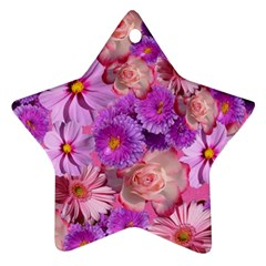 Flowers Blossom Bloom Nature Color Star Ornament (two Sides) by Sapixe