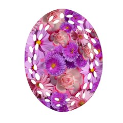 Flowers Blossom Bloom Nature Color Oval Filigree Ornament (two Sides) by Sapixe