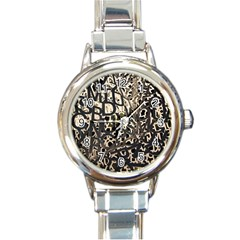 Pattern Design Texture Wallpaper Round Italian Charm Watch