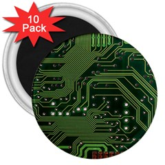 Board Computer Chip Data Processing 3  Magnets (10 Pack)  by Sapixe