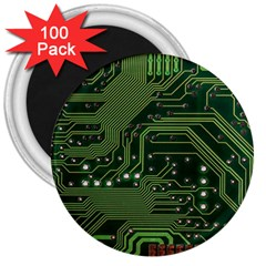 Board Computer Chip Data Processing 3  Magnets (100 Pack) by Sapixe