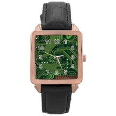 Board Computer Chip Data Processing Rose Gold Leather Watch  by Sapixe