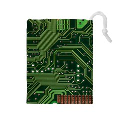 Board Computer Chip Data Processing Drawstring Pouches (large)  by Sapixe