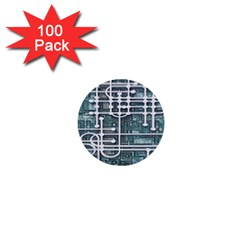 Board Circuit Control Center 1  Mini Buttons (100 Pack)  by Sapixe