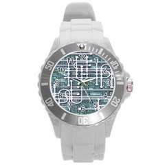 Board Circuit Control Center Round Plastic Sport Watch (l) by Sapixe