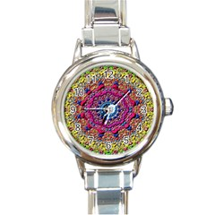 Background Fractals Surreal Design Round Italian Charm Watch
