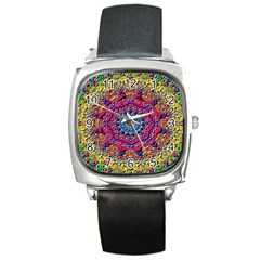 Background Fractals Surreal Design Square Metal Watch by Sapixe