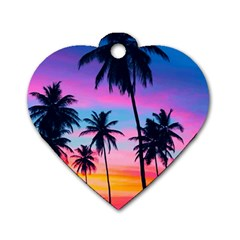 Sunset Palms Dog Tag Heart (one Side) by goljakoff