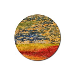 The Framework Drawing Color Texture Rubber Coaster (round)  by Sapixe