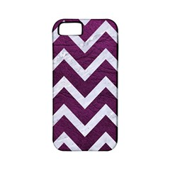 Chevron9 White Marble & Purple Leather Apple Iphone 5 Classic Hardshell Case (pc+silicone) by trendistuff