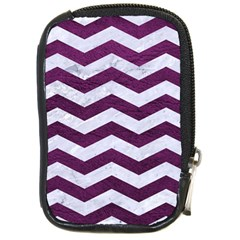Chevron3 White Marble & Purple Leather Compact Camera Cases by trendistuff