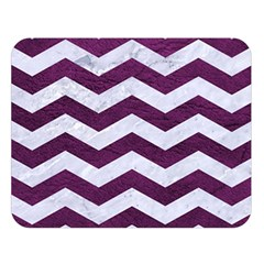 Chevron3 White Marble & Purple Leather Double Sided Flano Blanket (large)  by trendistuff