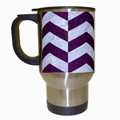 Chevron2 White Marble & Purple Leather Travel Mugs (white) by trendistuff