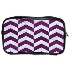Chevron2 White Marble & Purple Leather Toiletries Bags 2 Side by trendistuff