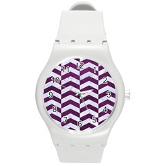 Chevron2 White Marble & Purple Leather Round Plastic Sport Watch (m) by trendistuff
