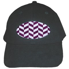 Chevron1 White Marble & Purple Leather Black Cap by trendistuff