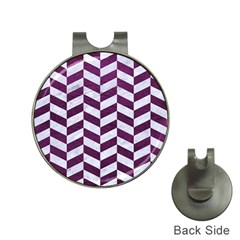 Chevron1 White Marble & Purple Leather Hat Clips With Golf Markers by trendistuff