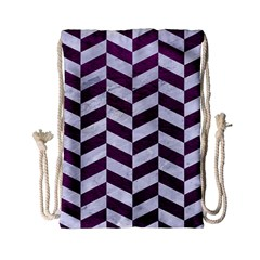 Chevron1 White Marble & Purple Leather Drawstring Bag (small) by trendistuff