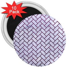 Brick2 White Marble & Purple Leather (r) 3  Magnets (10 Pack)  by trendistuff