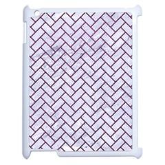 Brick2 White Marble & Purple Leather (r) Apple Ipad 2 Case (white) by trendistuff