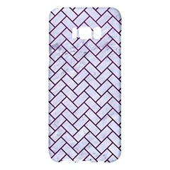 Brick2 White Marble & Purple Leather (r) Samsung Galaxy S8 Plus Hardshell Case