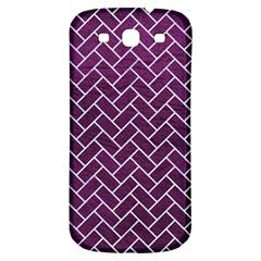 Brick2 White Marble & Purple Leather Samsung Galaxy S3 S Iii Classic Hardshell Back Case by trendistuff