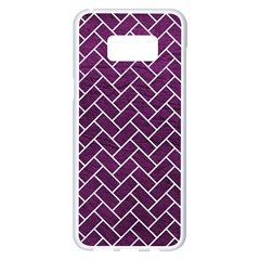 Brick2 White Marble & Purple Leather Samsung Galaxy S8 Plus White Seamless Case
