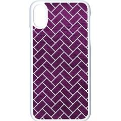 Brick2 White Marble & Purple Leather Apple Iphone X Seamless Case (white)