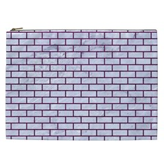 Brick1 White Marble & Purple Leather (r) Cosmetic Bag (xxl)