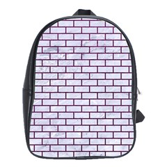 Brick1 White Marble & Purple Leather (r) School Bag (xl) by trendistuff