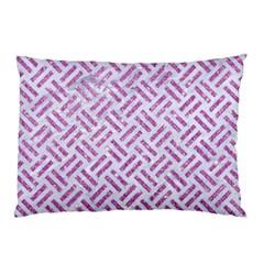 Woven2 White Marble & Purple Glitter (r) Pillow Case by trendistuff