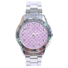 Woven2 White Marble & Purple Glitter (r) Stainless Steel Analogue Watch by trendistuff