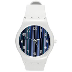 Shades Of Blue Stripes Striped Pattern Round Plastic Sport Watch (m) by yoursparklingshop