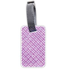 Woven2 White Marble & Purple Glitter Luggage Tags (two Sides) by trendistuff