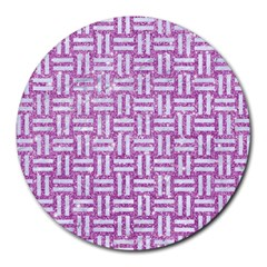Woven1 White Marble & Purple Glitter Round Mousepads by trendistuff