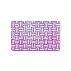 Woven1 White Marble & Purple Glitter Magnet (name Card) by trendistuff