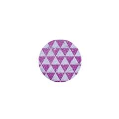 Triangle3 White Marble & Purple Glitter 1  Mini Buttons by trendistuff