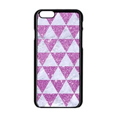 Triangle3 White Marble & Purple Glitter Apple Iphone 6/6s Black Enamel Case by trendistuff