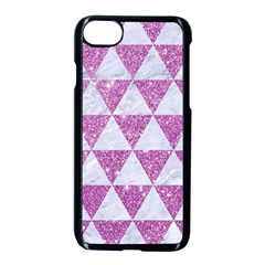 Triangle3 White Marble & Purple Glitter Apple Iphone 8 Seamless Case (black)