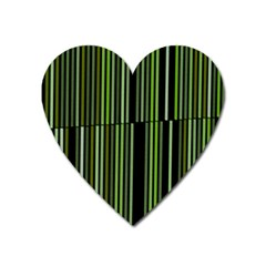 Shades Of Green Stripes Striped Pattern Heart Magnet