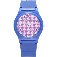 Triangle2 White Marble & Purple Glitter Round Plastic Sport Watch (s) by trendistuff