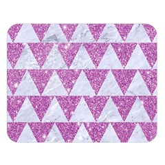 Triangle2 White Marble & Purple Glitter Double Sided Flano Blanket (large)  by trendistuff