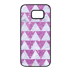 Triangle2 White Marble & Purple Glitter Samsung Galaxy S7 Edge Black Seamless Case