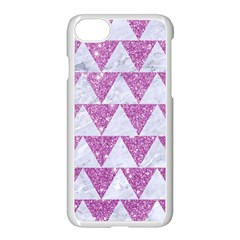 Triangle2 White Marble & Purple Glitter Apple Iphone 8 Seamless Case (white)