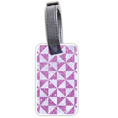 Triangle1 White Marble & Purple Glitter Luggage Tags (two Sides) by trendistuff