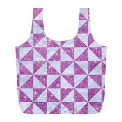 Triangle1 White Marble & Purple Glitter Full Print Recycle Bags (l)  by trendistuff