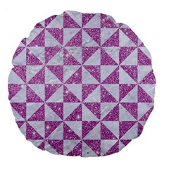 Triangle1 White Marble & Purple Glitter Large 18  Premium Flano Round Cushions by trendistuff